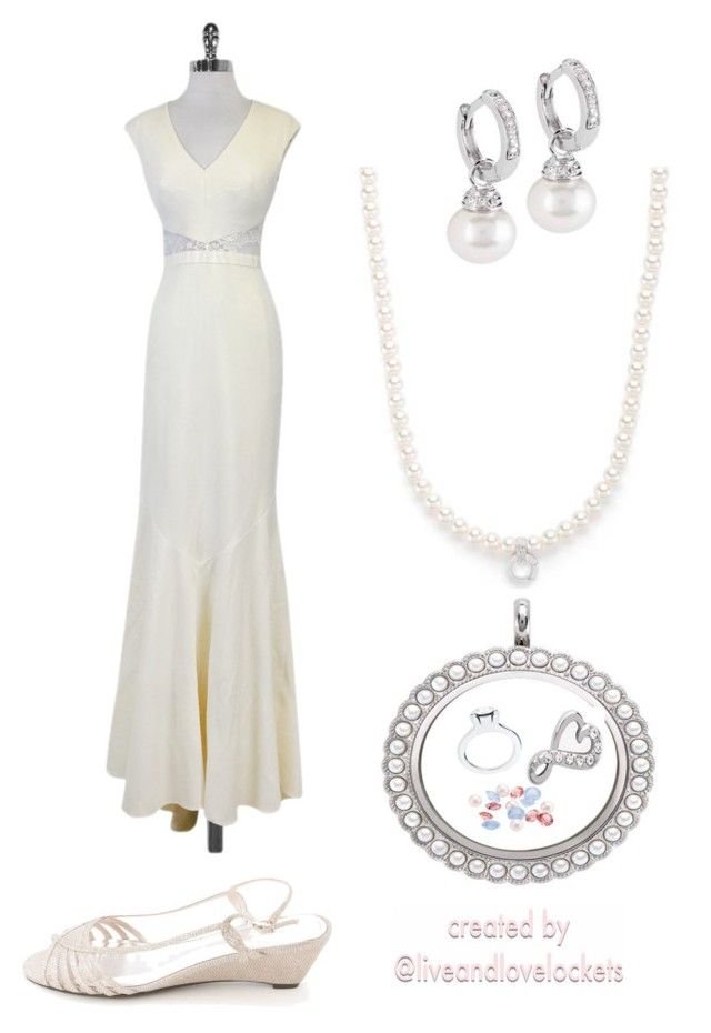 """""""Simple vintage wedding dress with Origami Owl accessories"""" by liveandlovelockets on Polyvore featuring Caparros, Nicole Miller and vintage"""