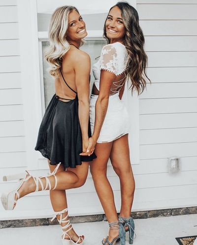 Mantel Rundhals Cap Sleeves White Lace Homecoming Kleid, günstige Hotsale Homecoming …   – Heer Dresses