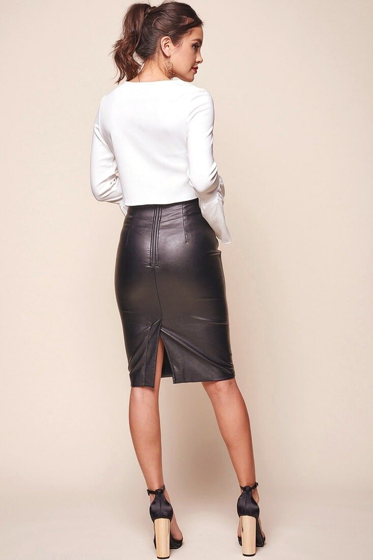 6032992d37 Noreiga Vegan Leather Mid-Length Skirt Black in 2019 | Style | Mid ...