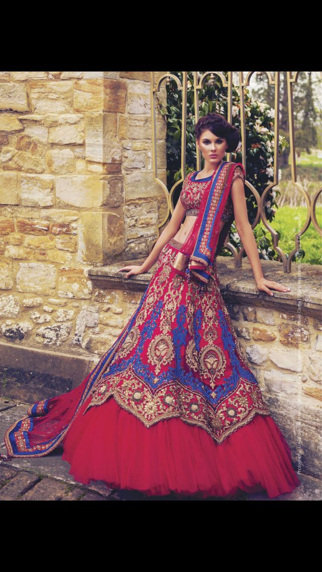 Asian bride, Indian bridal lehenga, modern bride. red and blue lehenga for an Indian wedding