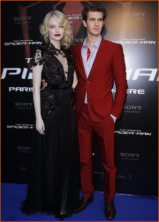 Emma Stone in black Gucci gown @ Spider-Man Paris premiere -with Adrew Garfield in Balenciaga