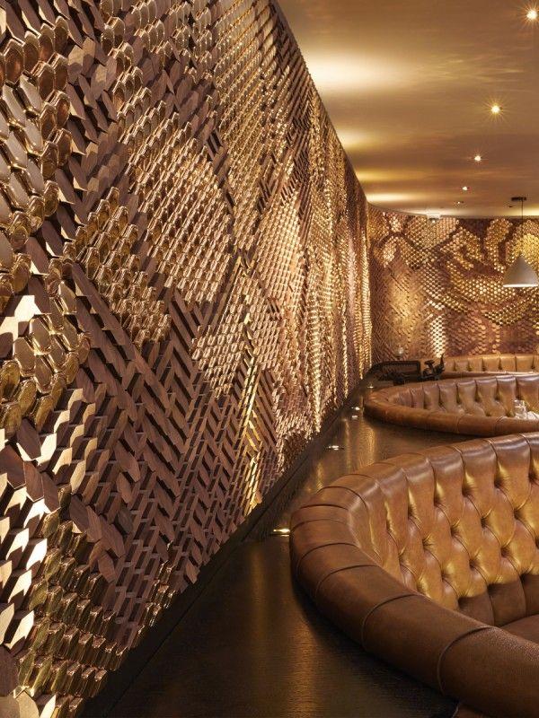 Walnut and High Gloss Gold Ceramic tile installation for Sukhothai Restaurant, Leeds by Giles Miller Studio