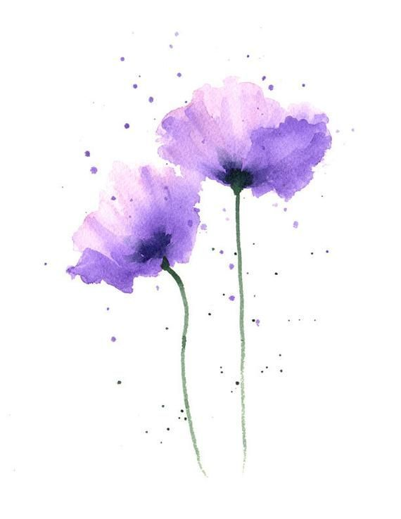 Poppies Art Print Purple Flower Wall Decor Floral Watercolor