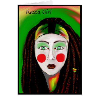 Rasta Girl Reggae Greeting Card - girl gifts special unique diy gift idea