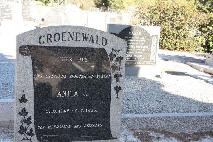 GROENEWALD Anita J. 1948-1965 Western Cape, DE DOORNS, Ou NG Kerk begraafplaas