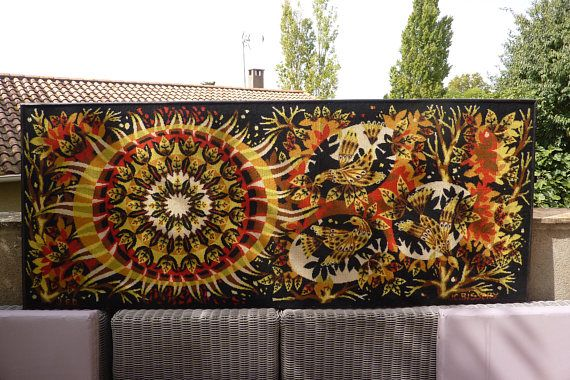 rare tapisserie ann es 70 french tapestry jean claude bissery 70s aurore attention il sagit. Black Bedroom Furniture Sets. Home Design Ideas