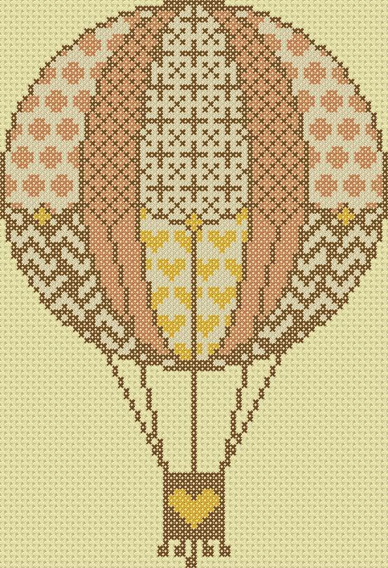 Cross stitch; hot air balloon, vintage, pink, brown