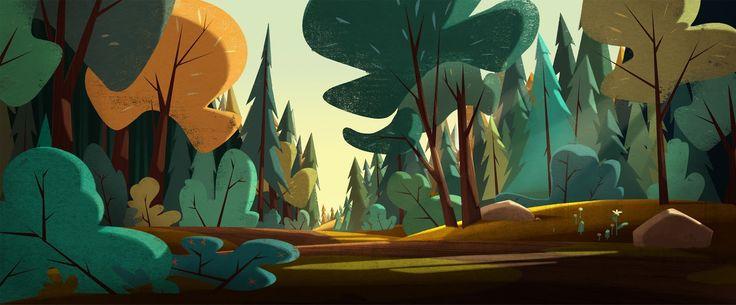 "From the animated show ""Jamie's Got Tentacles""   Background painting by Gael BECU,  Background design by Thomas GREFFARD  http://4.bp.blogspot.com/-2oGcUQyA24M/Ufp4OrSMDsI/AAAAAAAAAXE/W2L1_vUHrtg/s1600/FOREST+.jpg"