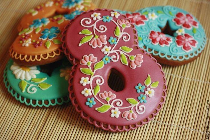 Купить Пряник 8 Марта! - пряник, расписные пряники, печенье имбирное, женский день