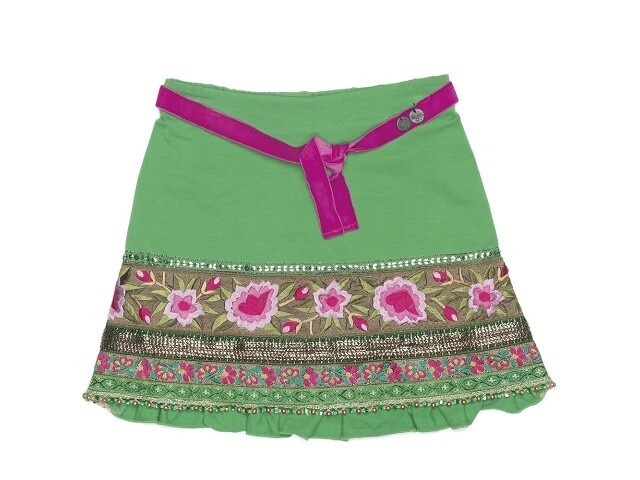 Kinderkleding en Jeugdmode bij Villa Kakebont Jeugmode, Kado & Lifestyle::Meisjes::Rok::Mim-Pi 740 rok groen bloem bor