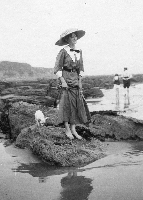 On the beach, 1910s.