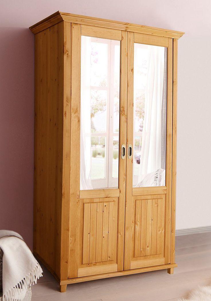 Epic Artikeldetails Kleiderschrank im Landhaus Stil Mit Schiebt ren Kleiderstange aus Holz in