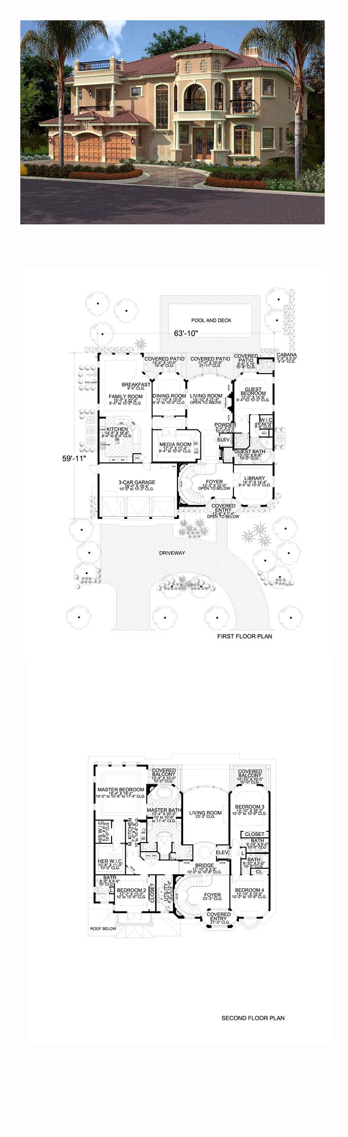 Italian House Plan 55774 | Total Living Area: 5176 sq. ft., 5 bedrooms and 6.5 bathrooms. #italianhome