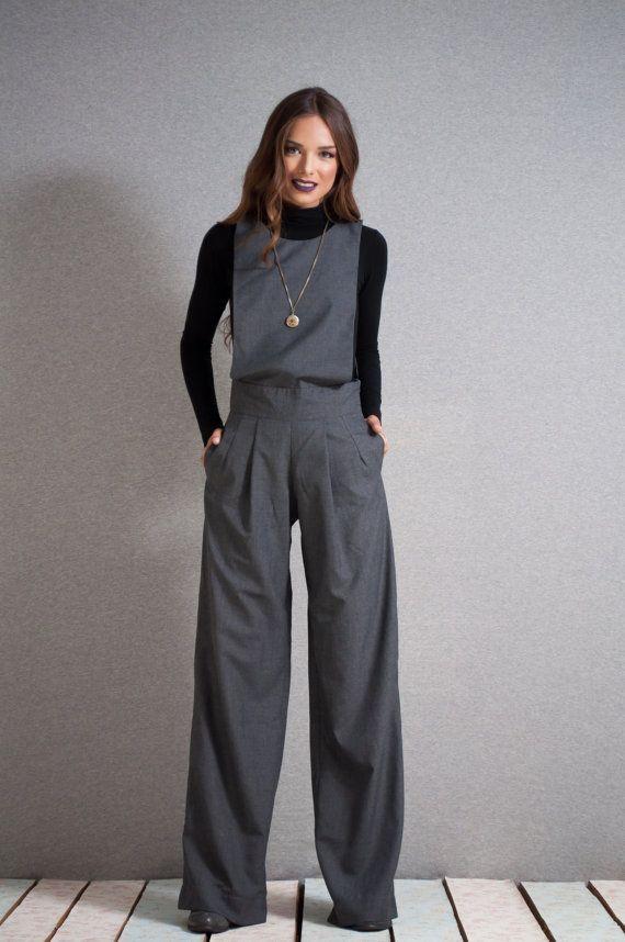 Grey Overalls,wide pants jumpsuit, grey jumpsuit, long romper, womens overall, one piece jumpsuite , pantsuit