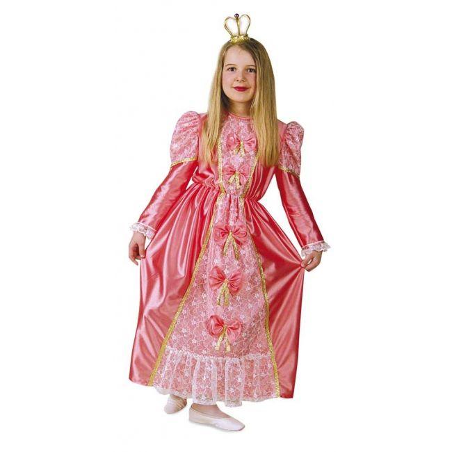 Roze prinsessen jurken voor meisjes. Een mooie prinsessen jurk in het roze. In het midden van de jurk zitten vijf strikken en wit kanten print. De jurk is afgewerkt met gouden lintjes. Carnavalskleding 2015 #carnaval