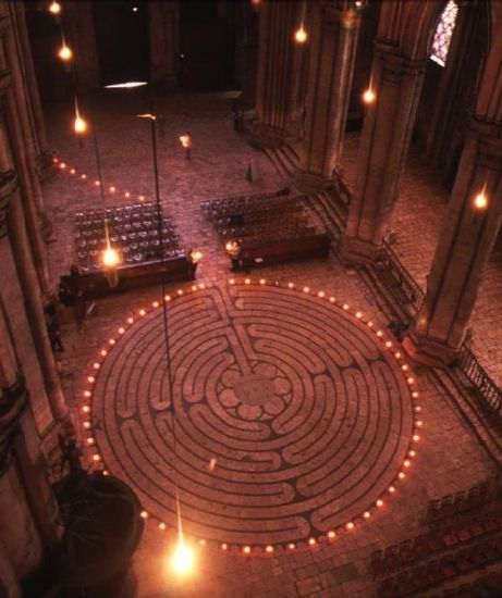 A view of the labyrinth on the floor of the Chartres Cathedral. Visitors use the labyrinth to meditate as they follow the path to the center and back again.