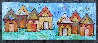 Gelli plate house's on canvas by Gemma Hynes #canvas #inkykitty #geliplate
