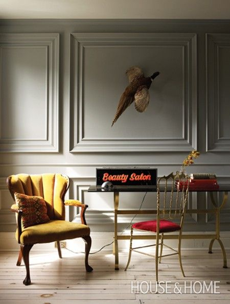 Painted molding & trim color the same warm gray color creates a strong backdrop for accessories & furniture   |  via Andrea's Innovative Interiors Blog - Trim and Wall Blend IntoOne