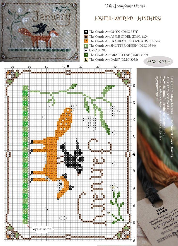 The Snowflower Diaries - a joyful world, January, free cross stitch chart