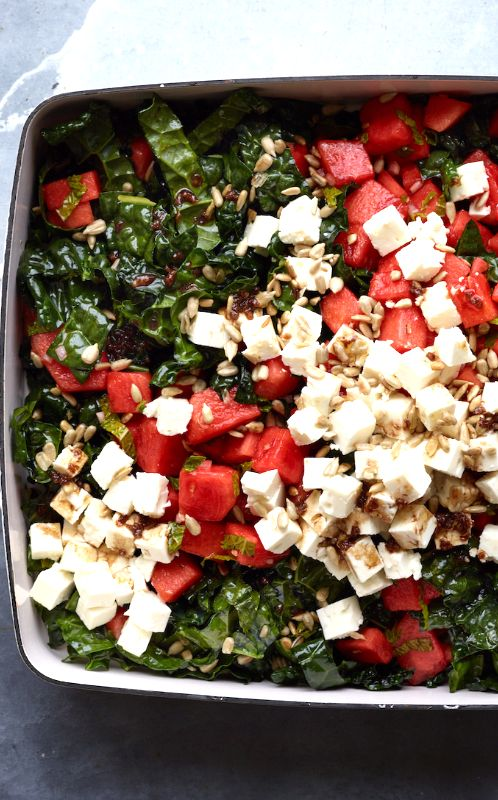 Watermelon, Kale and Feta Salad from www.whatsgabycooking.com (@whatsgabycookin)