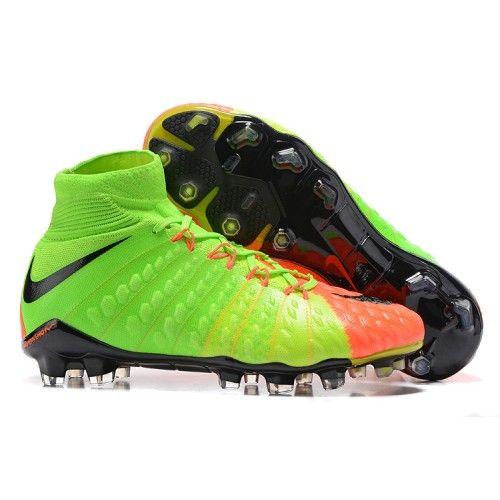 Billig Nike Hypervenom Phantom III DF FG Motion Blur Fotballsko Gronn Oransje