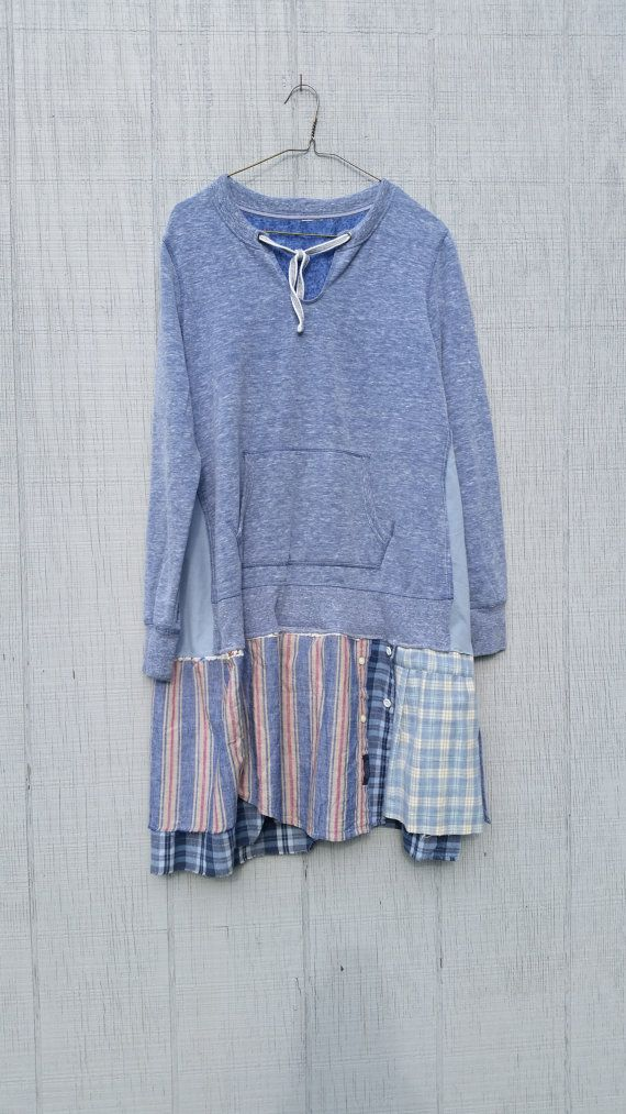 funky fall tunic upcycled sweatshirt sporty clothing by CreoleSha