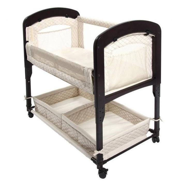 The Cambria Co-Sleeper bedside bassinet features beautifully curved wooden ends. The linings vary by selection, but all feature a good amount of mesh for great breathability, as well as added visibility.