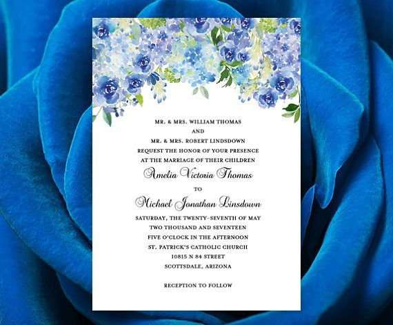 "Wedding Invitation Template ""Amelia"" Blue Roses & Hydrangea Instant Download Word Doc Template Make Your Own Wedding Invitations DIY U Print"