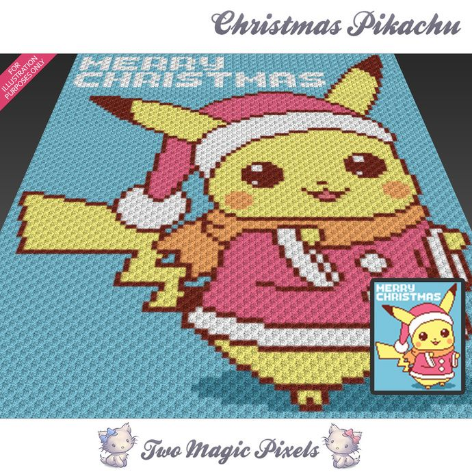 Christmas Pikachu crochet blanket pattern; knitting, cross stitch graph; pdf download; Pokemon; no written counts or row-by-row instructions by TwoMagicPixels, $3.79 USD