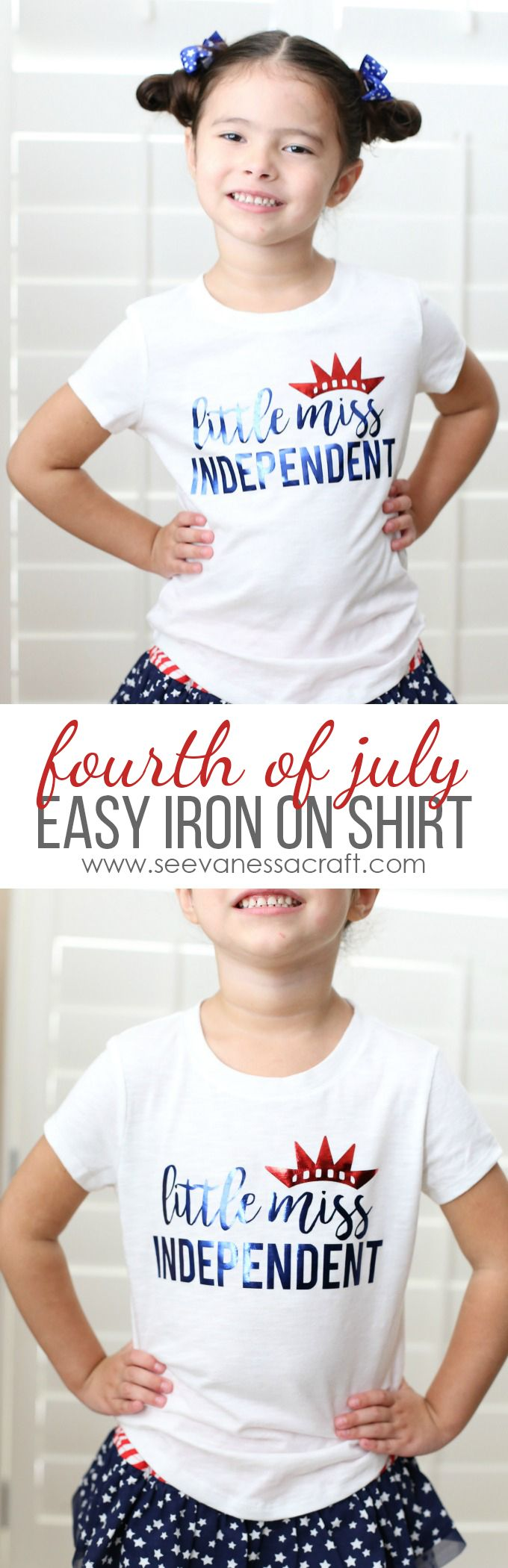 Easy Foil Iron On Tutorial with Free Cut Image - Little Miss Independent Shirt for 4th of July!