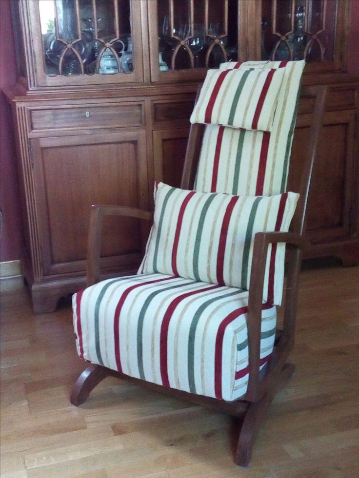 sillón mecedora restaurada y tapizada