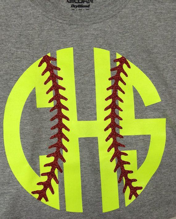 monogram softball shirt monogram softball glitter by KACExpress