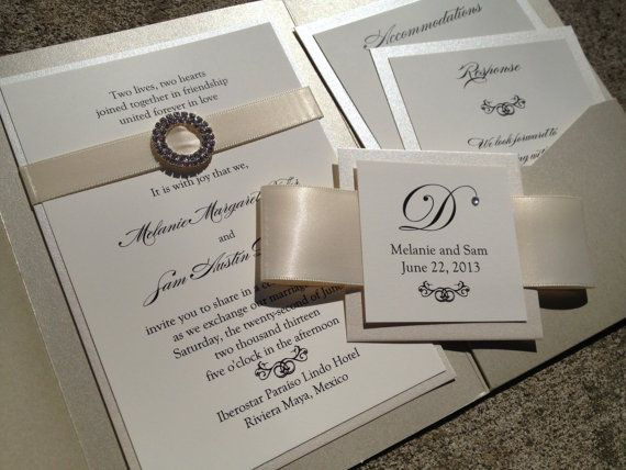 elegant pocket wedding invitation in cream by decadentdesigns 575 - Wedding Invitation Pockets