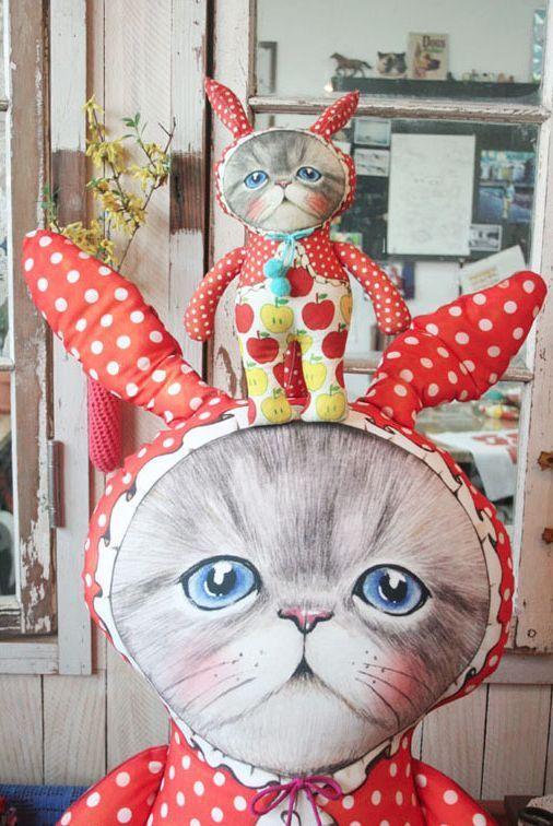 D.I.Y Fabric no.6/Uncle cat/Rabbit/cat/himalayan/Persian/cut/sew/panel