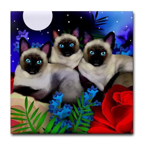 SIAMESE katten maan tuin kunst keramische tegel door EvaDesignsArt