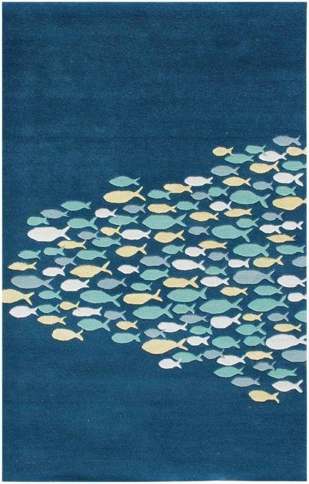 "Beautiful ""school of fish"" ocean and beach-themed rug"
