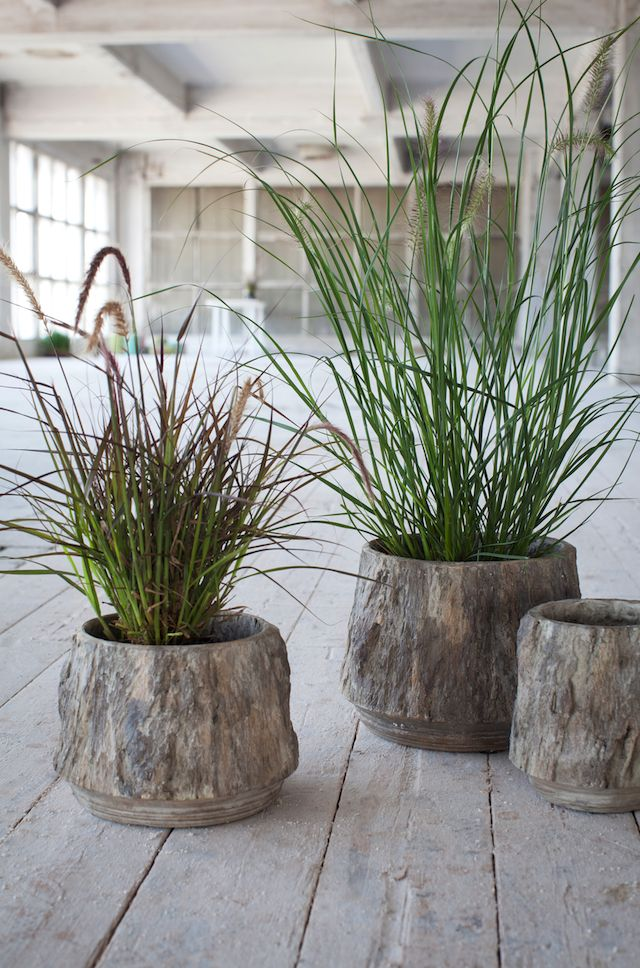 is this bark? You would say so, but in fact it are fabulous looking concrete pots from the Sessile oak Serax collection.