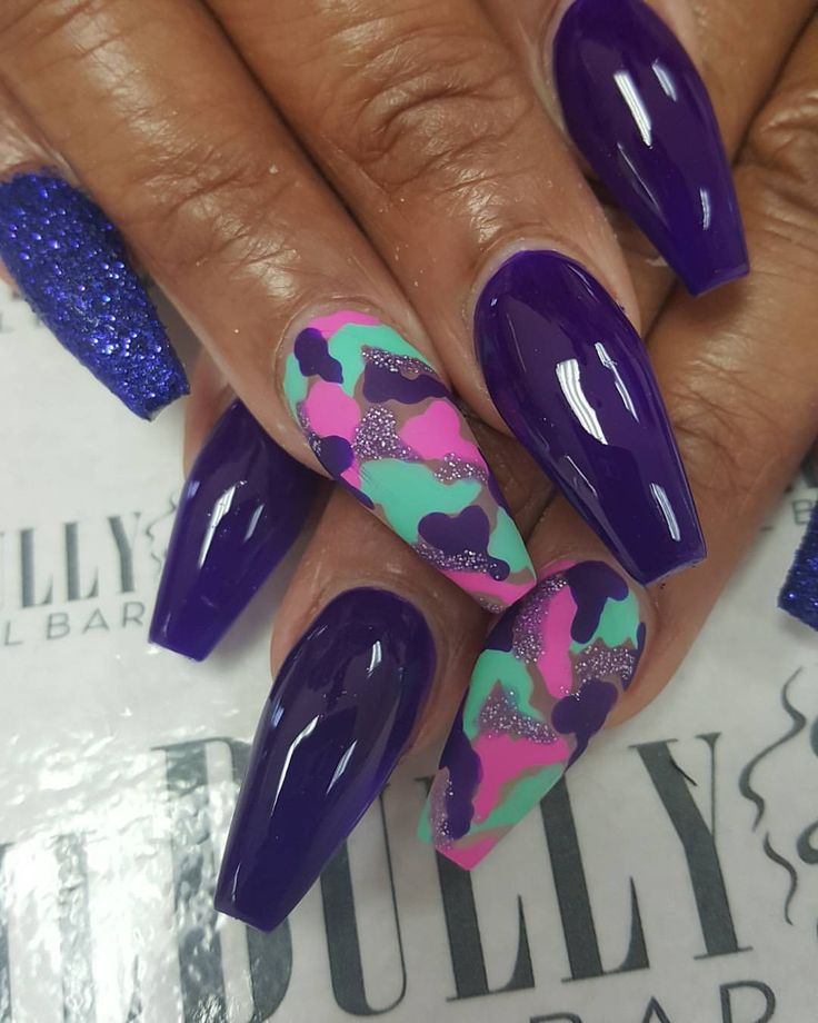 Neon Camouflage Nails by @nailbully