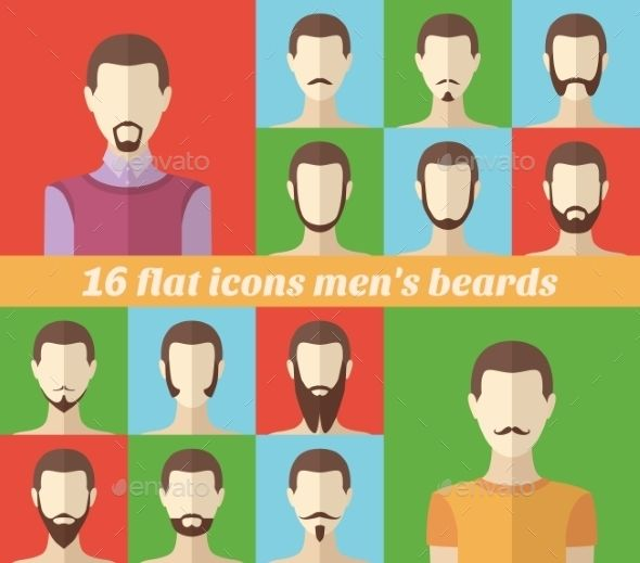Set of Men's Beards and Mustaches