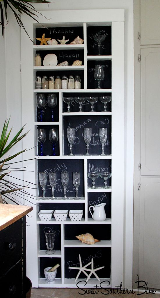 Hidden door/ shelves to hide ugly hot water heater.  Paint the back of the shelving with chalkboard paint to make them pop !