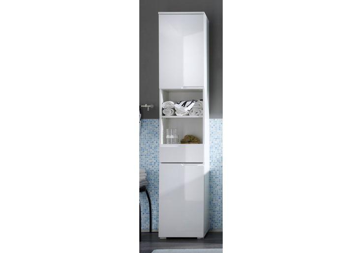 32-00074 Badezimmer Hochschrank weiss Hochglanz