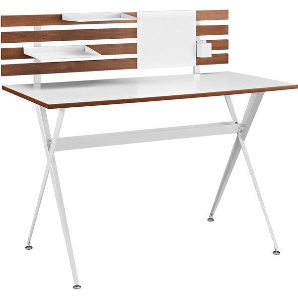 Dot & Bo Liv Desk (13.025 RUB) ❤ liked on Polyvore featuring home, furniture, desks, white magnetic board, mod furniture, white furniture, white modern desk and modern desk