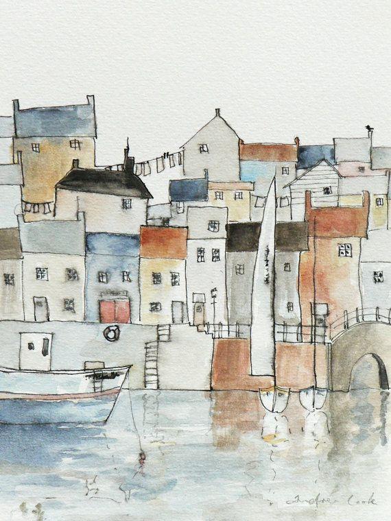 Lámina Giclée de una ciudad puerto
