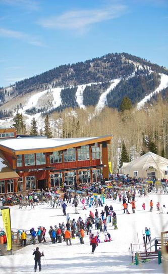 The Red Pine Lodge at Canyons is an ideal spot to watch kids on the learning slope. Photo: Rob Bossi/Canyons Resort.