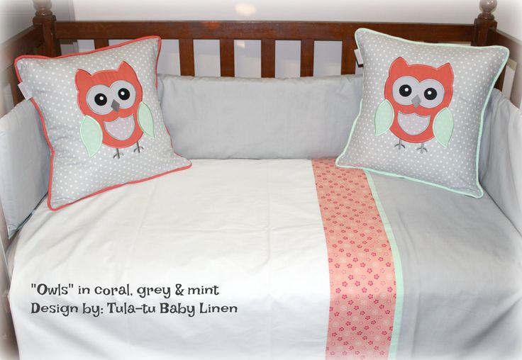 Owls-themed nursery linen in grey, white, coral & mint. #nursery #babydecor #cotlinen Linen are made to order by Tula-tu Baby Linen. View more designs on website: www.tulatu.co.za