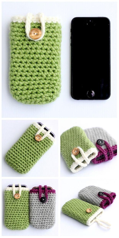 Crochet iPhone Case - Quick and Easy Pattern. Pattern here: http://dabblesandbabbles.com/crochet-iphone-case-quick-and-easy/
