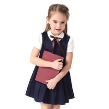 2017 Summer Blue Cotton Short Sleeve Pleated Kids School Uniform Dress For Girls 4 6 8 10 12 14 Years Teenage Children Clothing(China (Mainland))