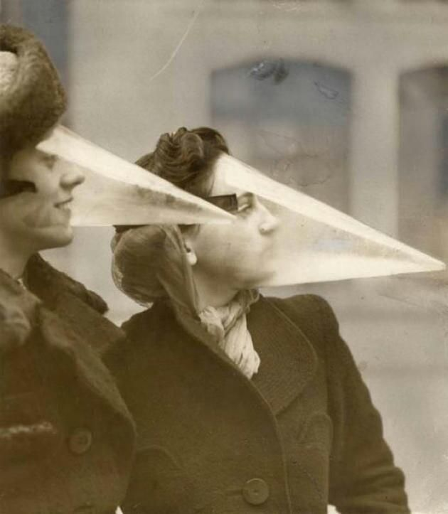 I have never heard of or seen anything like this~~~~~Face cones designed to protect from snow storms and blizzards, 1939