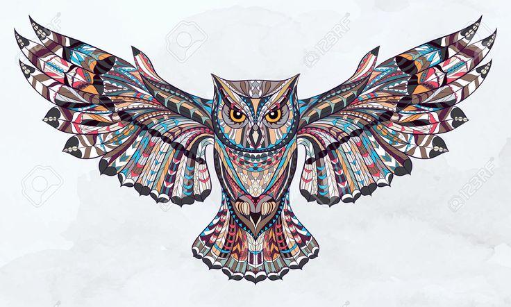 Узорчатое сова на гранж фон акварелью. Африканский / индийский дизайн / тотем / татуировка. Он может быть использован для проектирования футболку, сумку, открытки, плакат и так далее. Клипарты, векторы, и Набор Иллюстраций Без Оплаты Отчислений. Image 44179468.