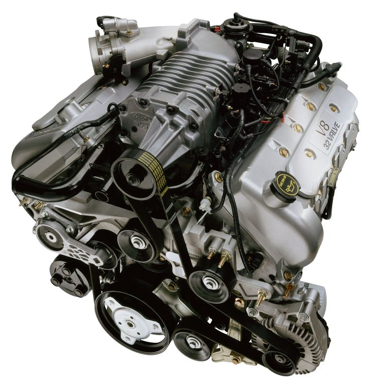 "Ford 4.6 DOHC V-8, supercharged code-name ""Terminator"", as in the 2003-2004 SVT Mustang Cobra. Iron block, aluminum heads."